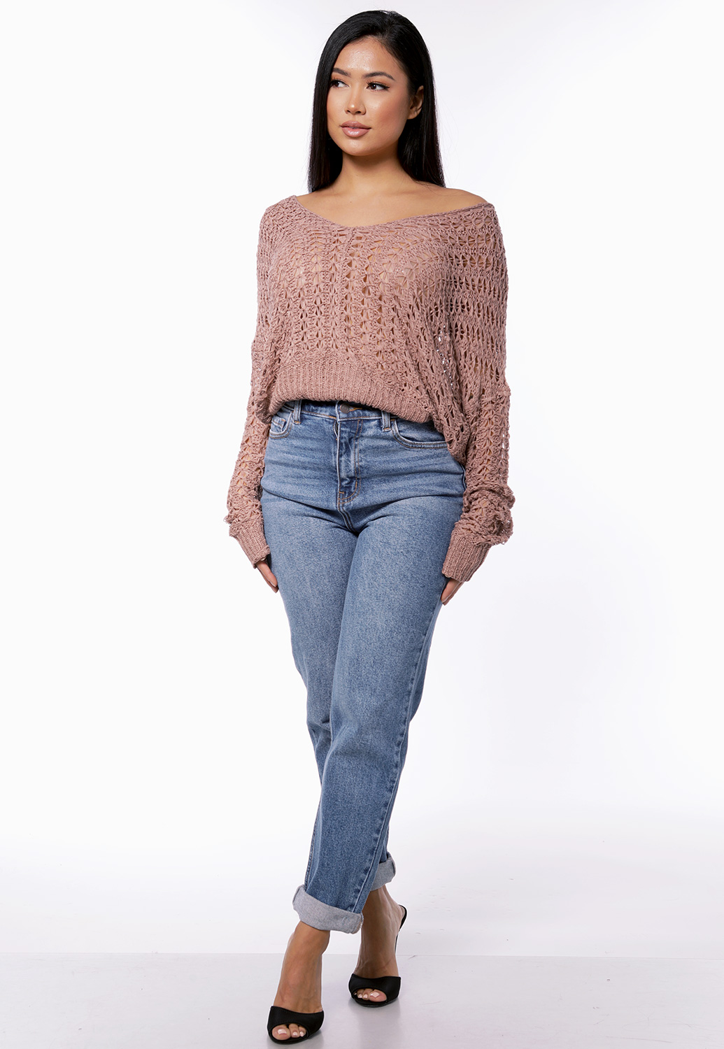 Open Knit V Neck Sweater