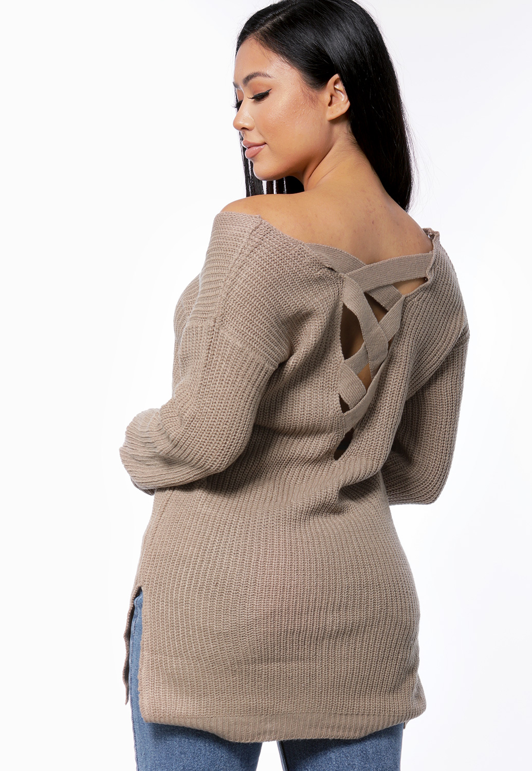 Lace-Up Back Knit Sweater