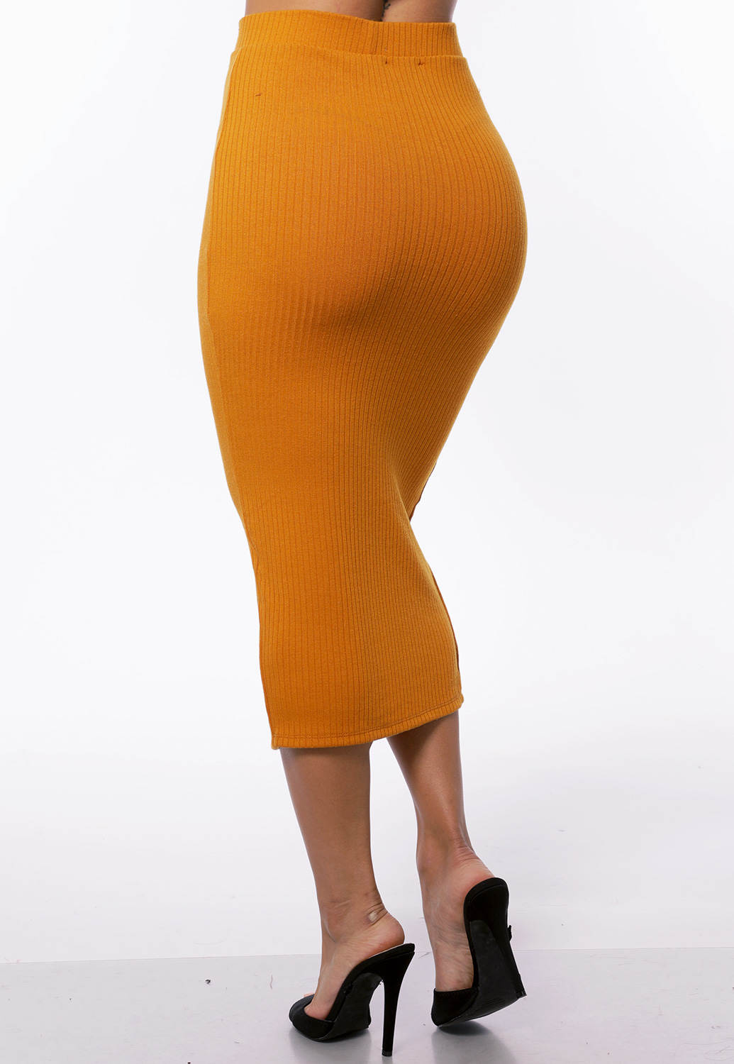 Button Detail Ribbed Pencil Skirt
