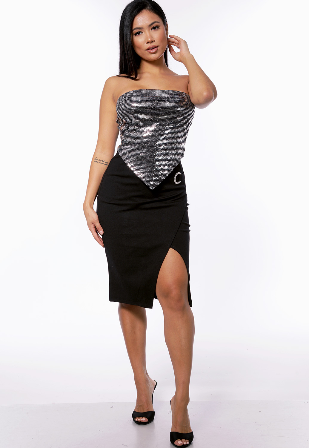 Metallic Strapless Crop Top