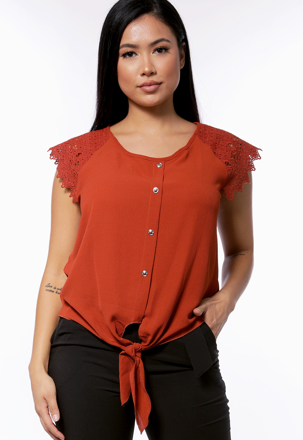 Crochet Button Detail Top