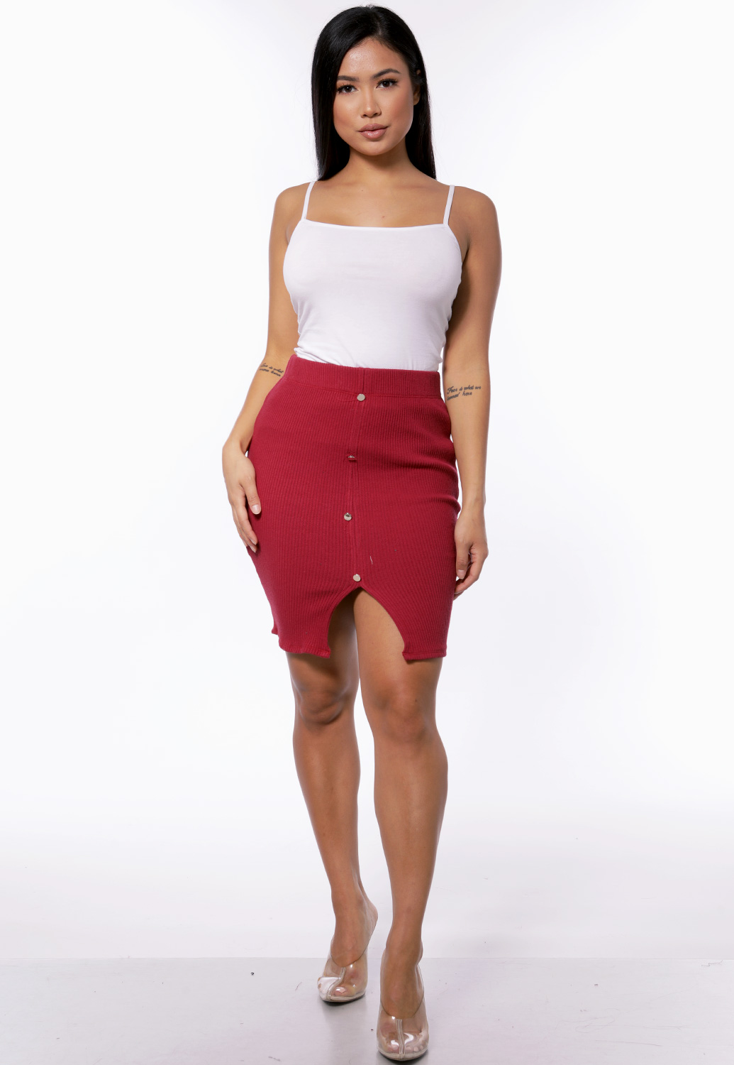 Ribbed Button Detail Mini Skirt