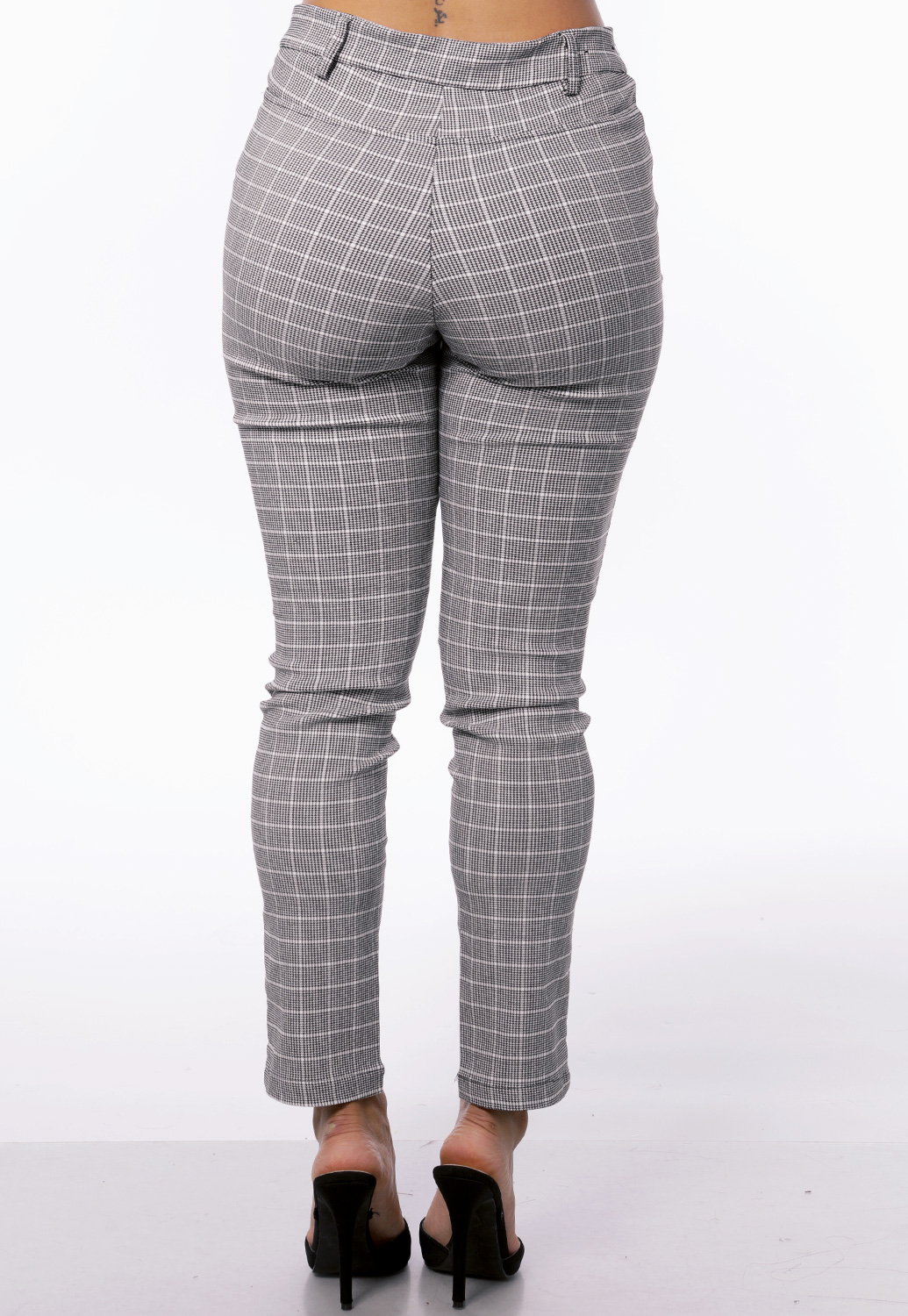 Glen Plaid Skinny Dressy Pants