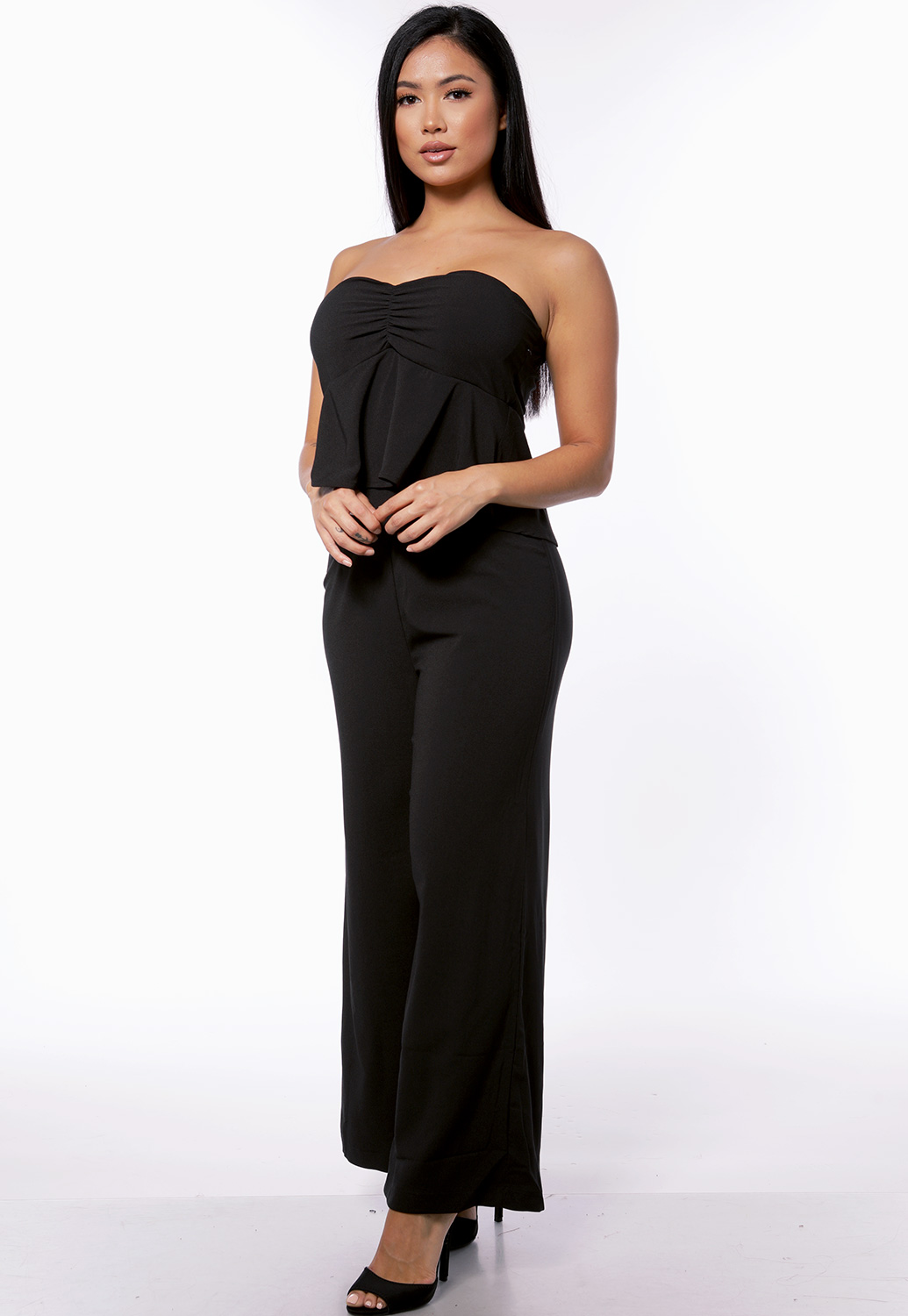 Strapless Flare Trim Jumpsuit