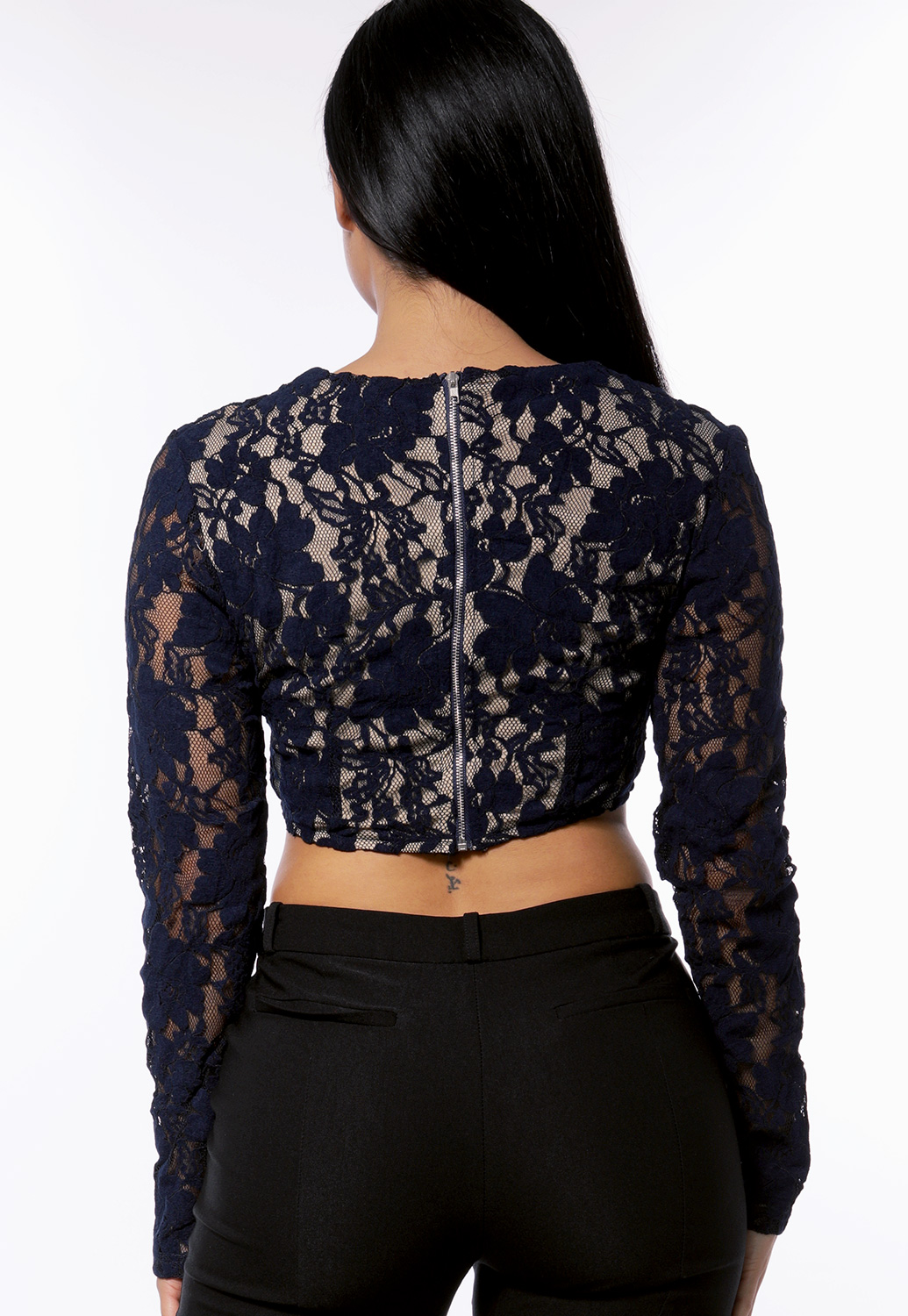 Floral Lace Trim Crop Top