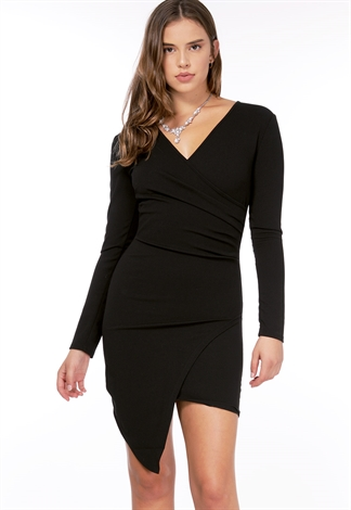 Asymmetrical Ruched Bodycon Dress