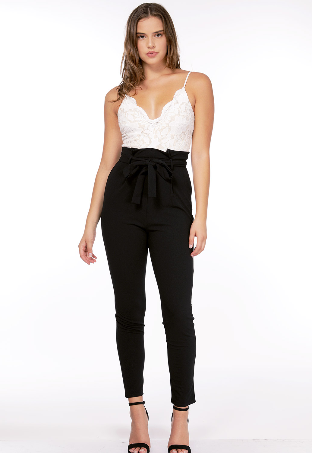 Lace Trim Tie Front Jumpsuit