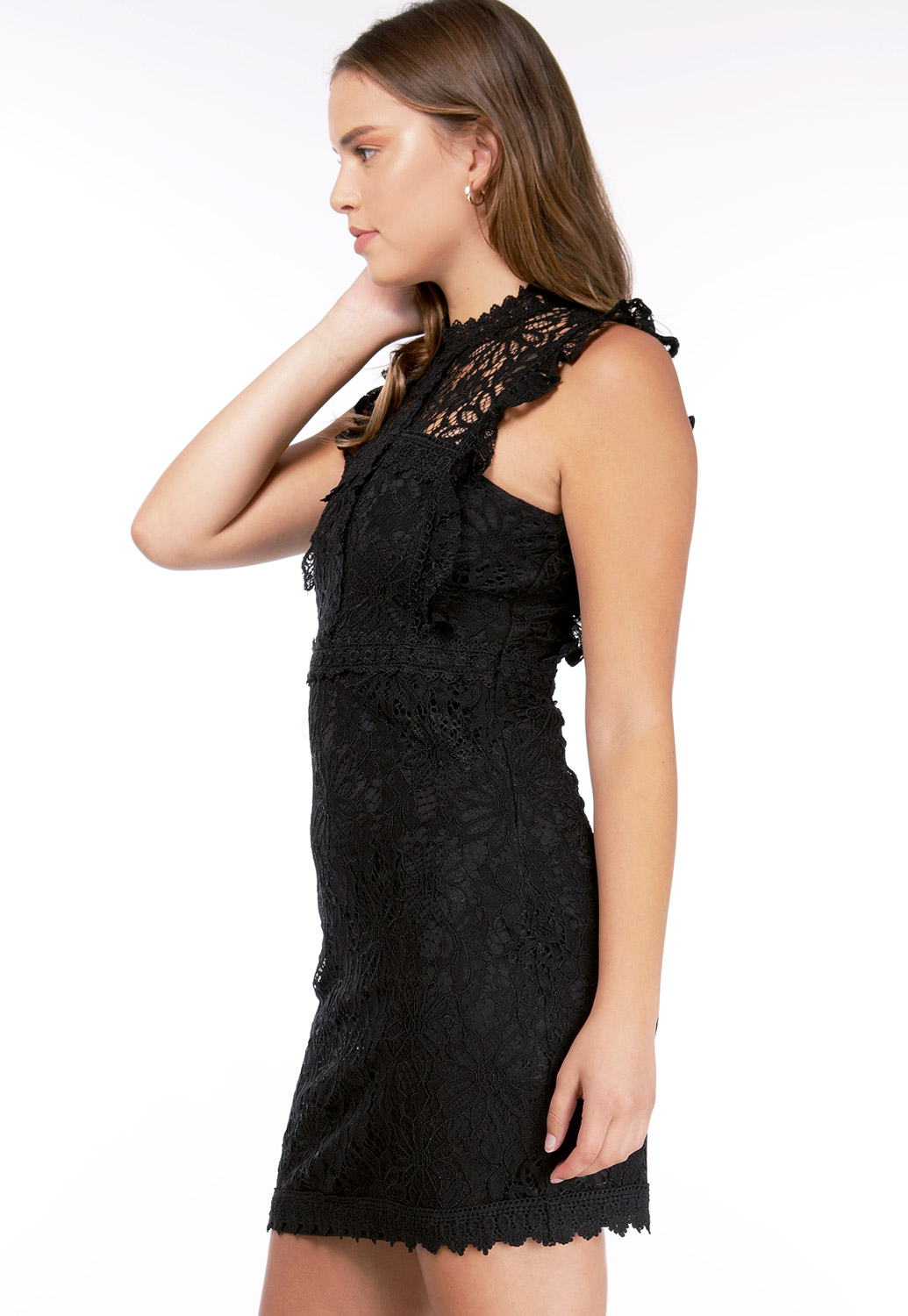 Lace Ruffle Detail Dress