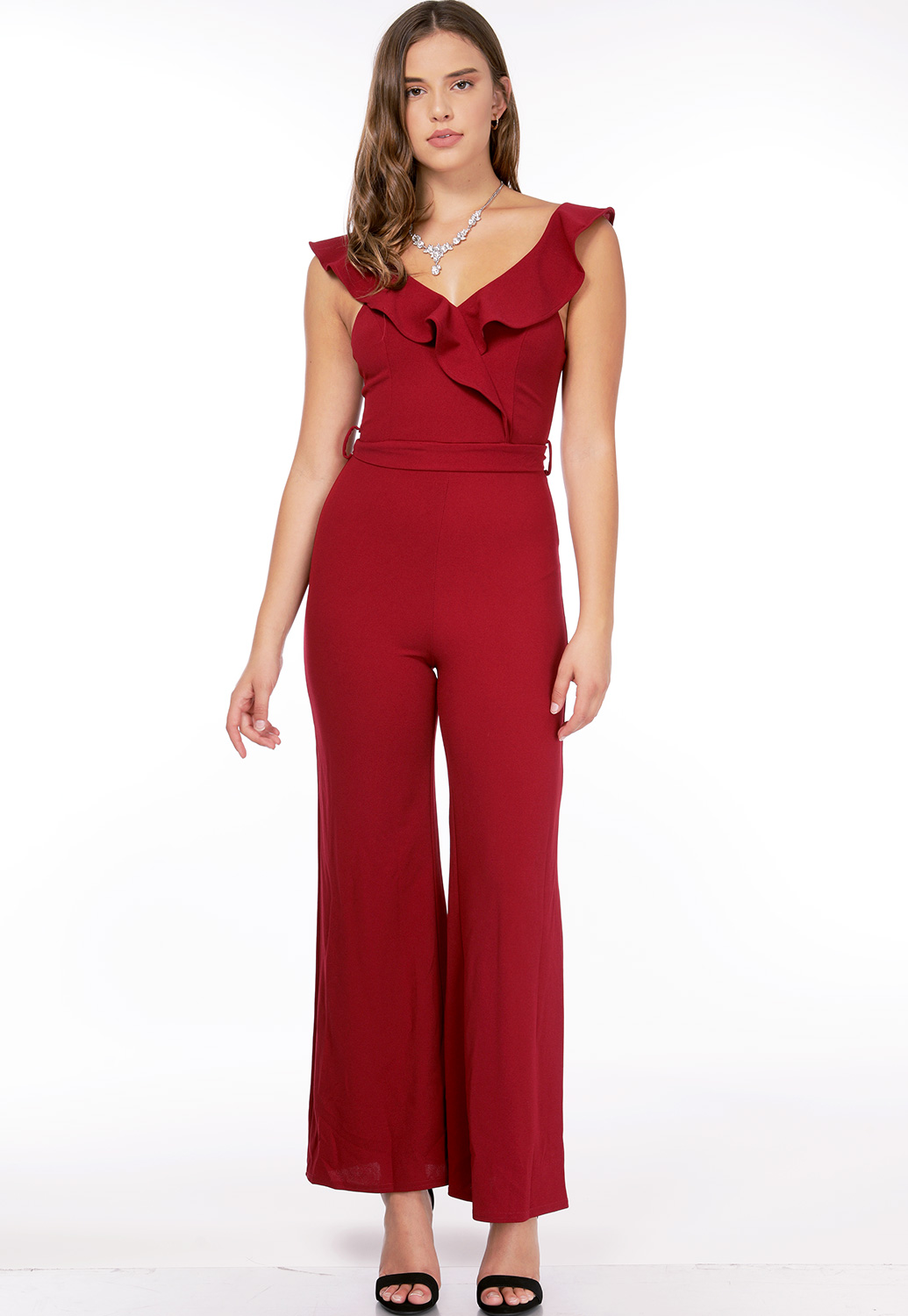 Flare Trim V-Neck Jumpsuit
