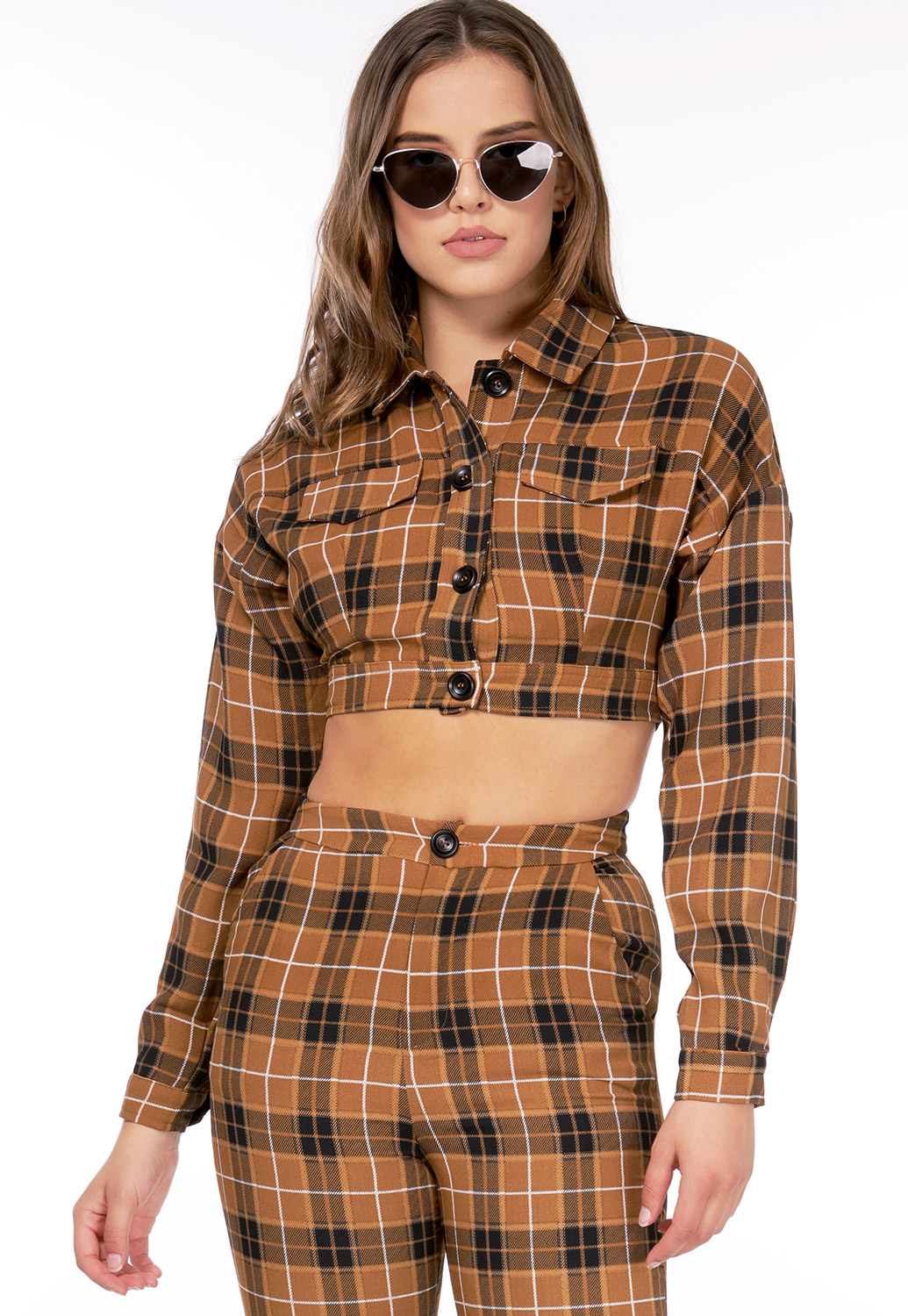 Plaid Button Up Dressy Top
