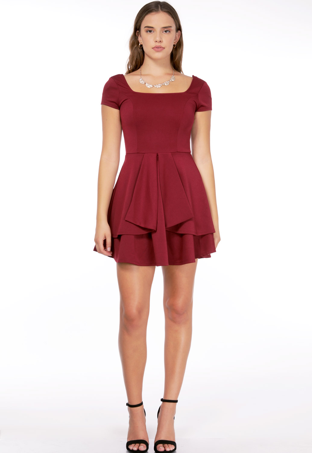 Flare Trim Mini Dress