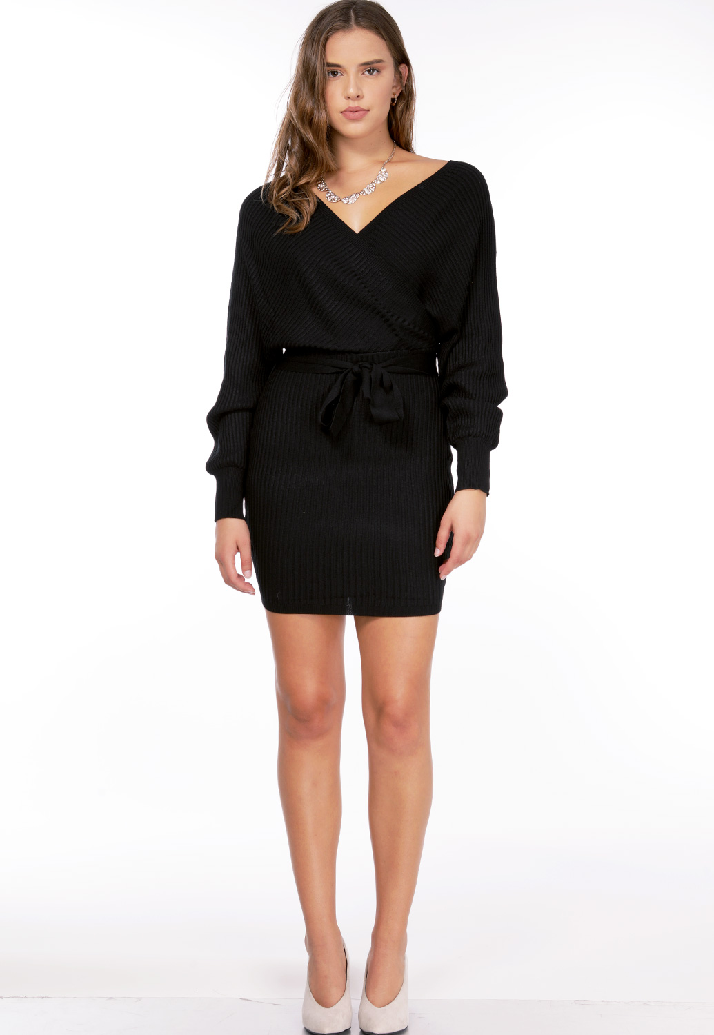 Surplice Ribbed Mini Dress