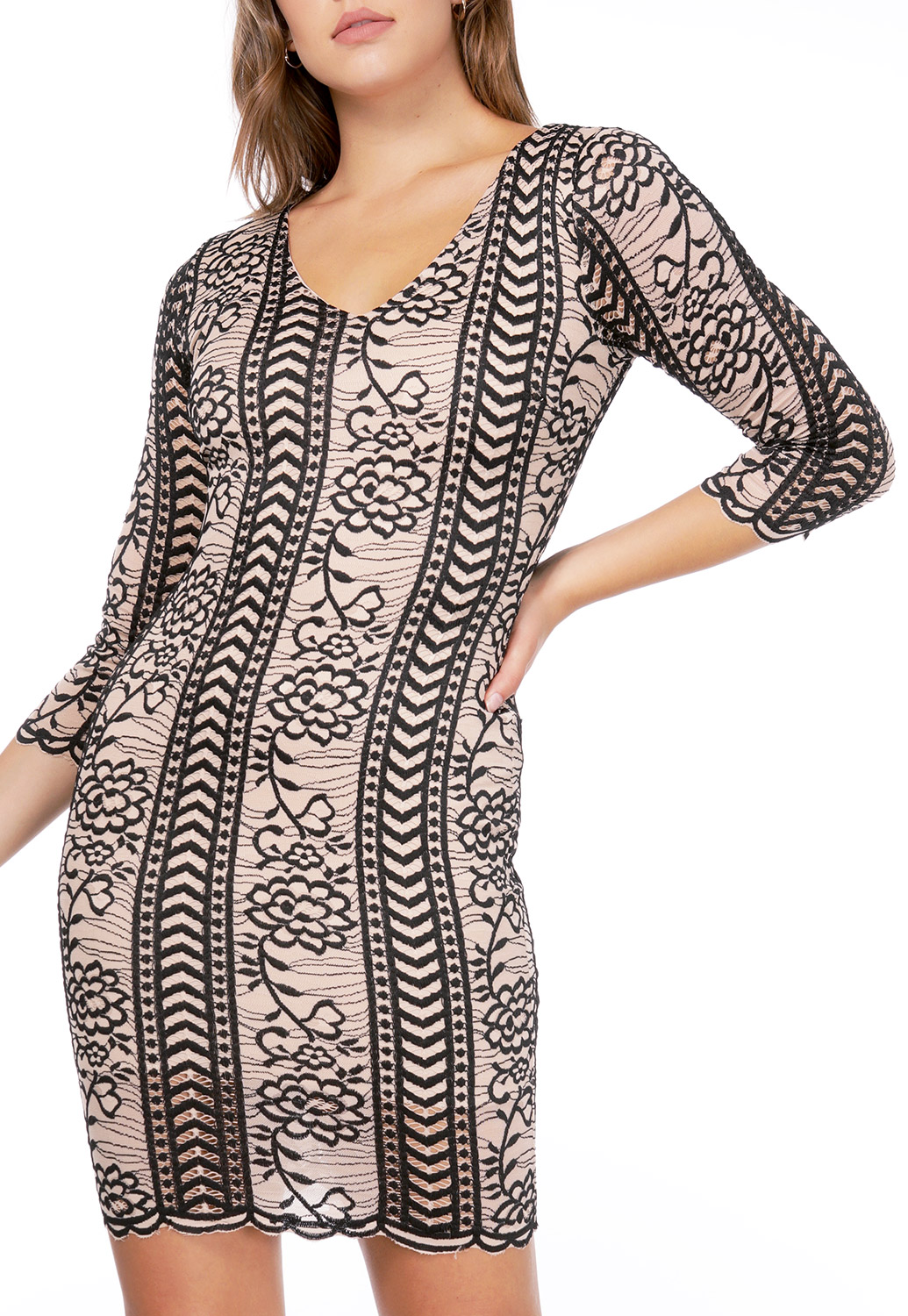 Floral Lace Panel Bodycon Dress