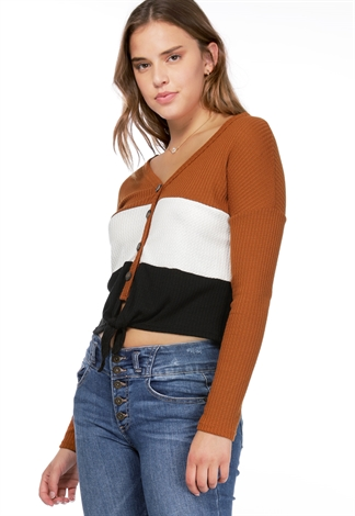 Waffle Knit Button Detail Top