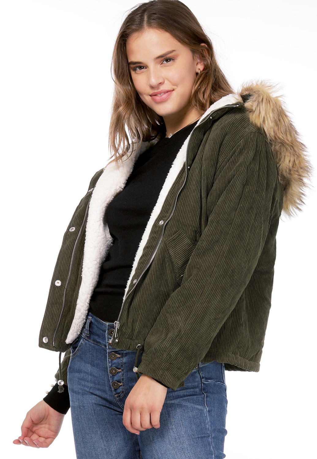 Ribbed Faux Fur Hooded Jacket