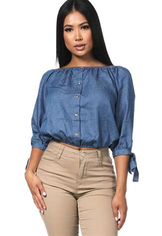 Off The Shoulder Button Detail Top