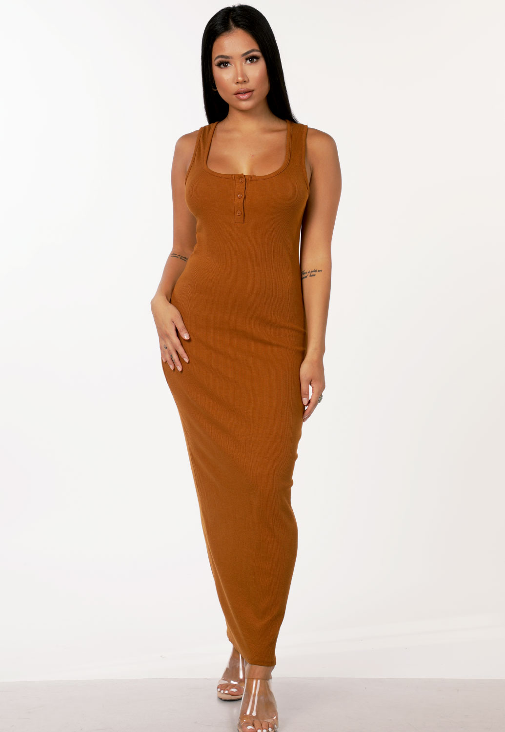 Ribbed Button Detail Maxi Dress