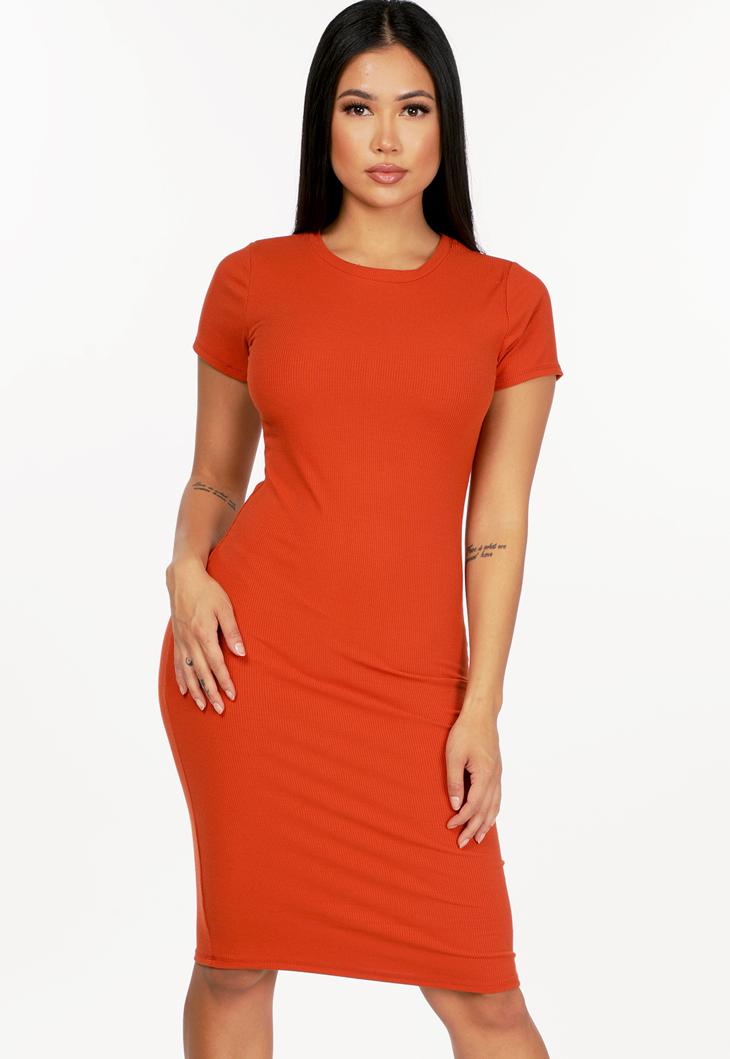 Ribbed Cut Out Detail Mini Dress