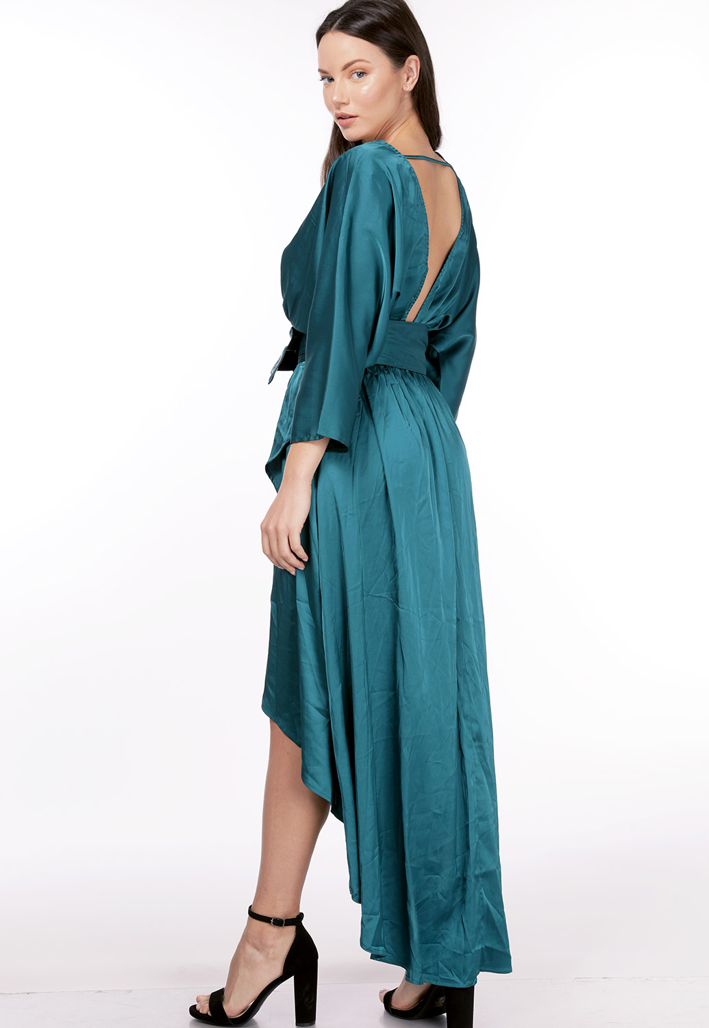 Satin Belted Detail Maxi Dress