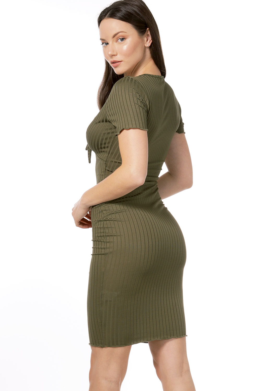 Ribbed Tie Front Mini Dress