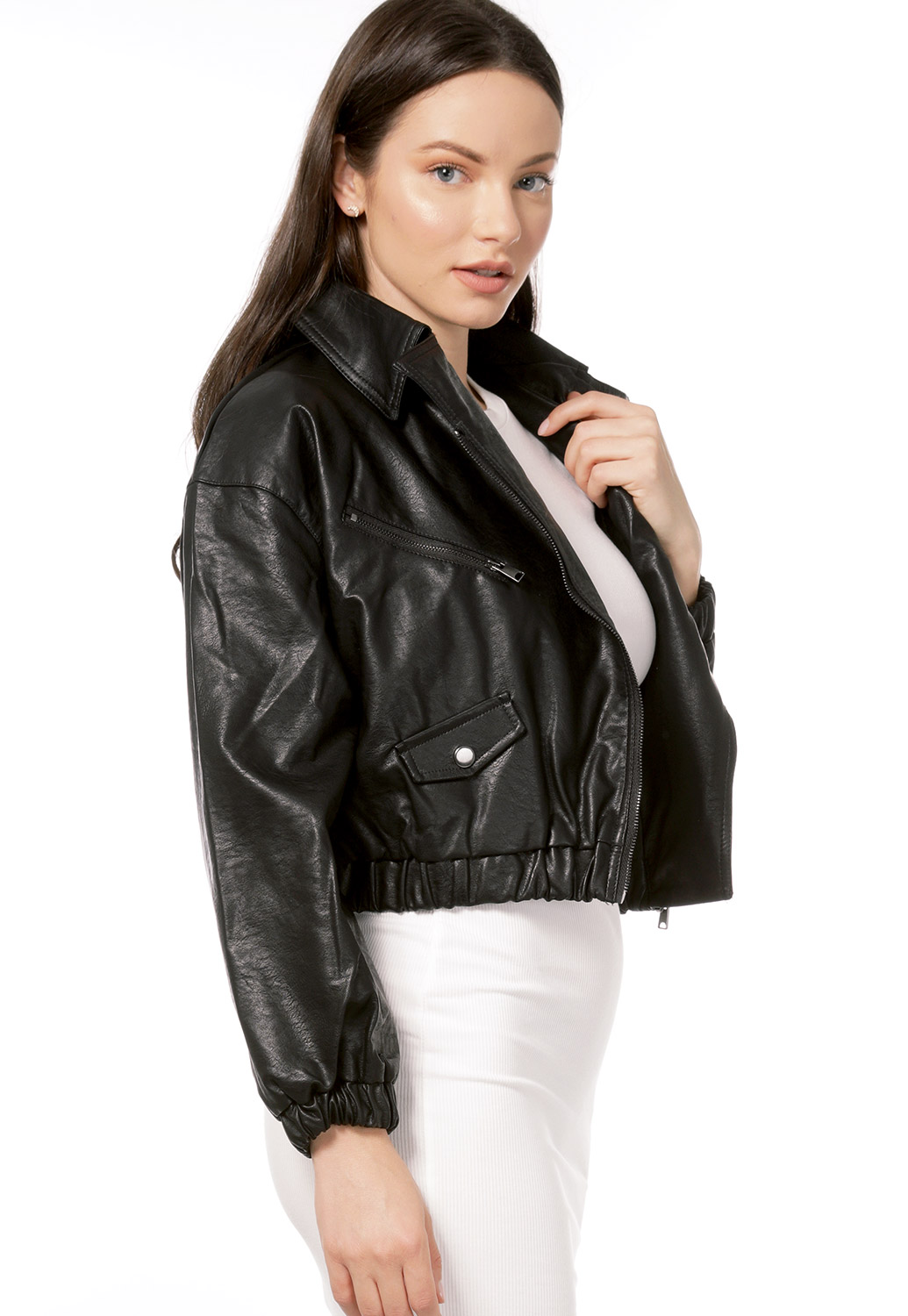Faux Leather Zip Up Jacket