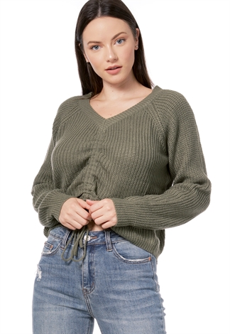 Knit Ruched Detail Sweater