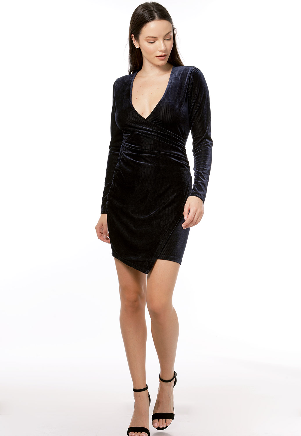 Ribbed Velvet Mini Dress
