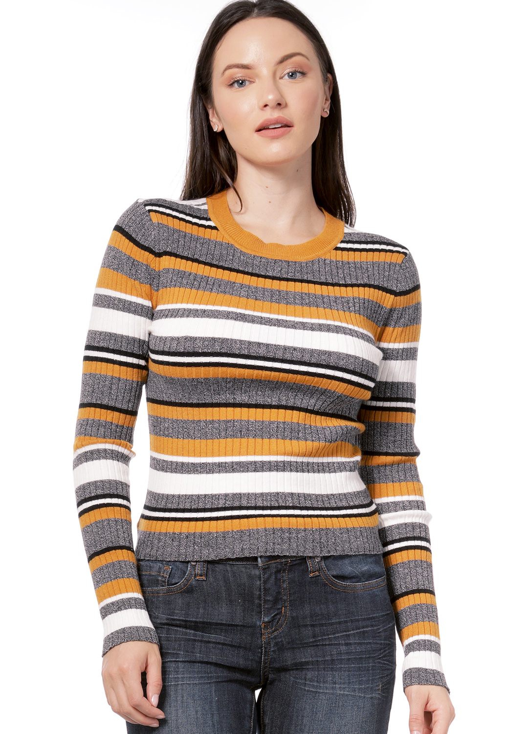 Striped Long Sleeve Knit Top