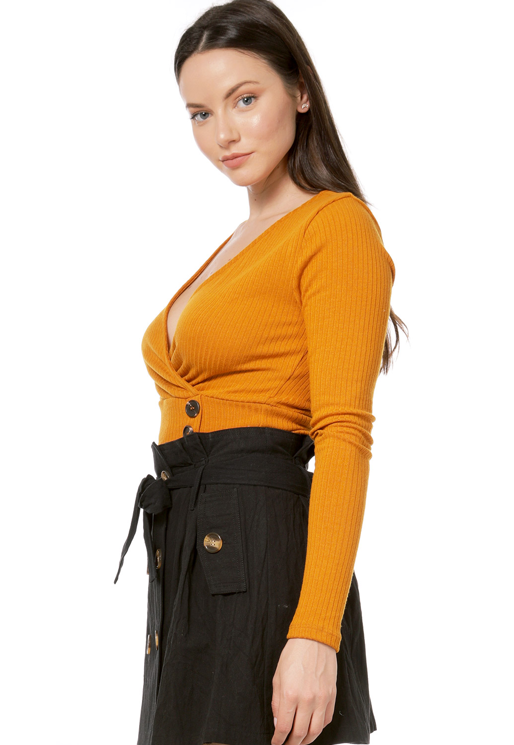 Surplice Ribbed Top