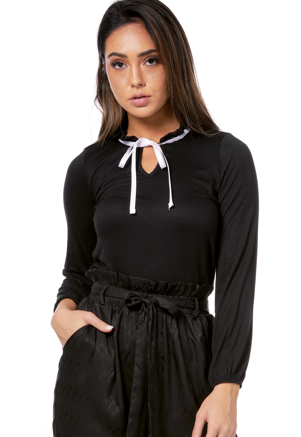 Tie Front Ruffle Neck Top
