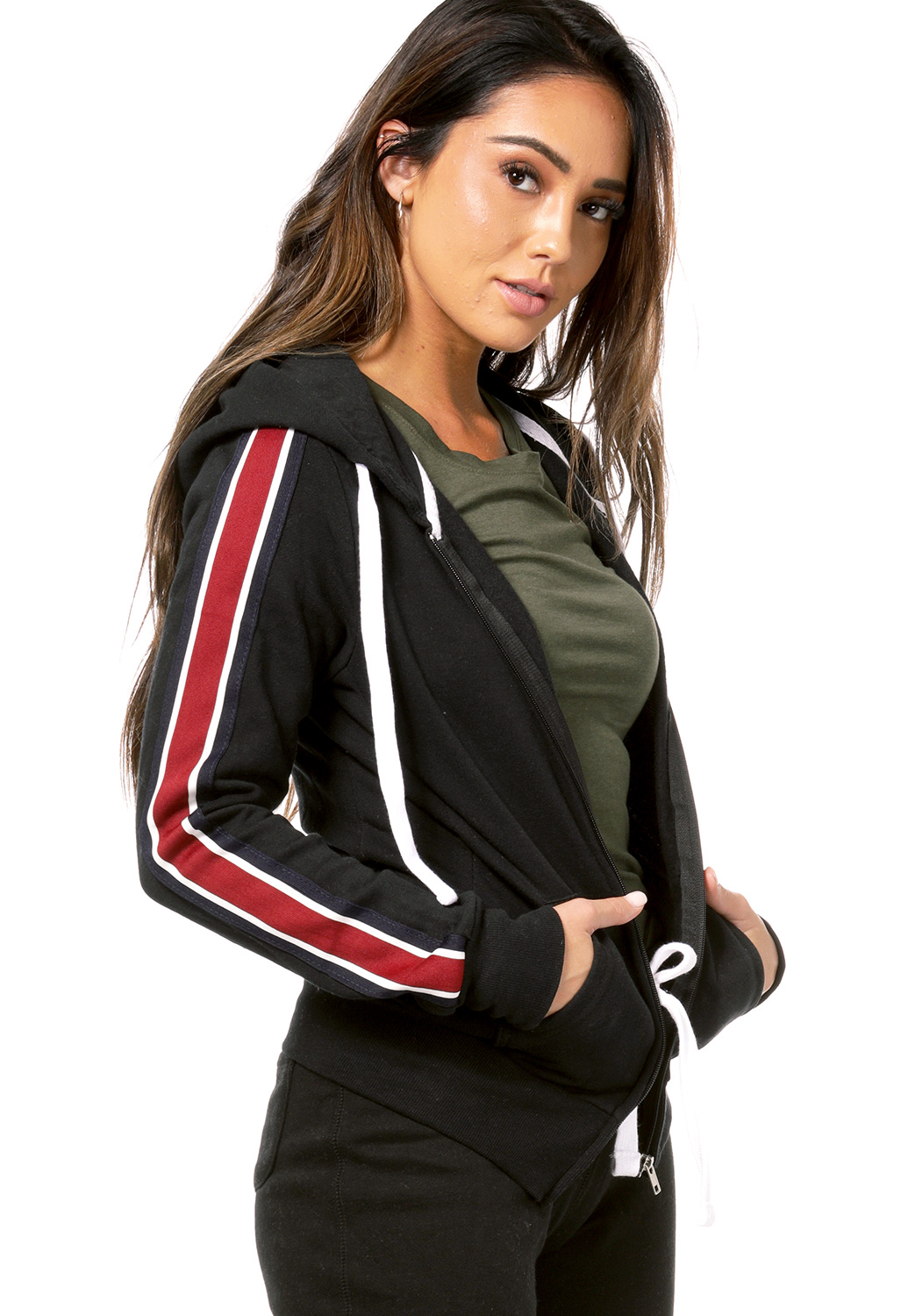 Striped Sleeve Detail Zip Up Jacket