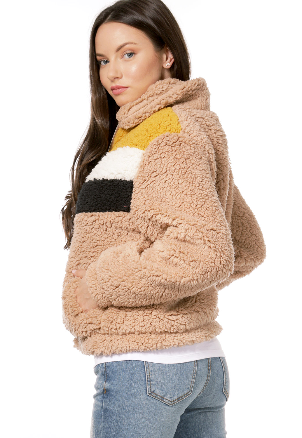 Faux Shearling Zip Up Jacket