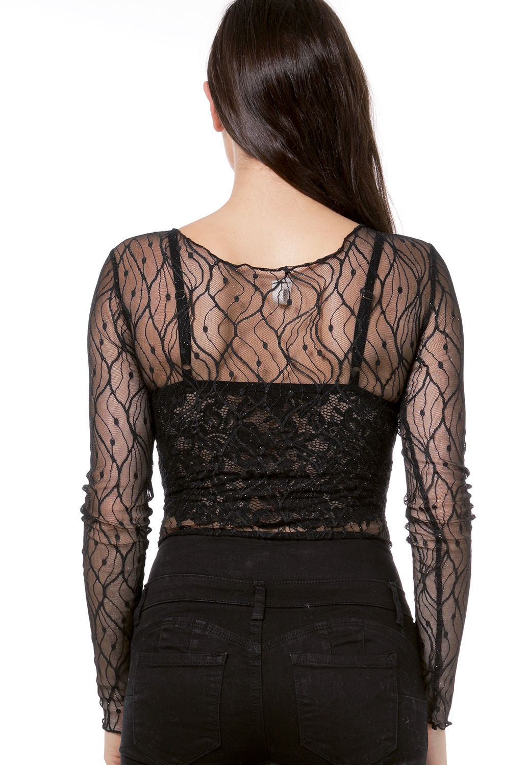 Sheer Mesh Metallic Bodysuit