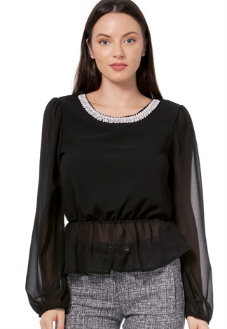 Faux Pearl Embellished Dressy Top