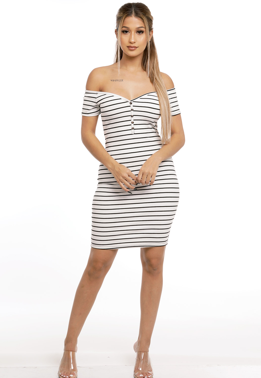 Striped Off The Shoulder Mini Dress