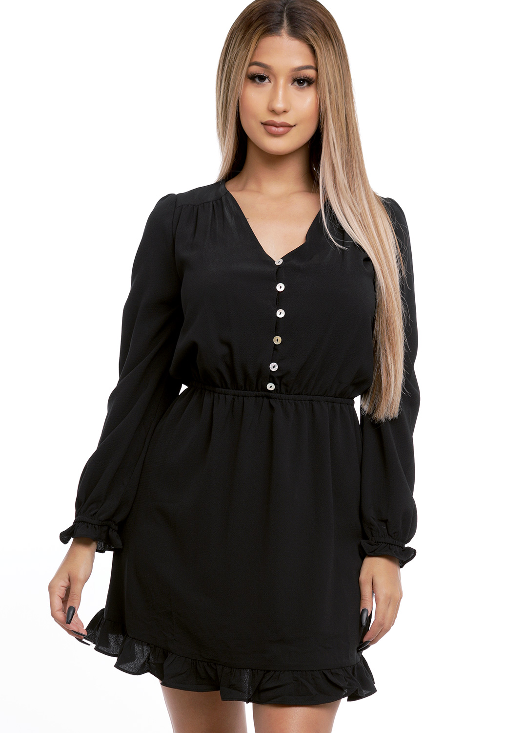 Half Button Up Mini Dress