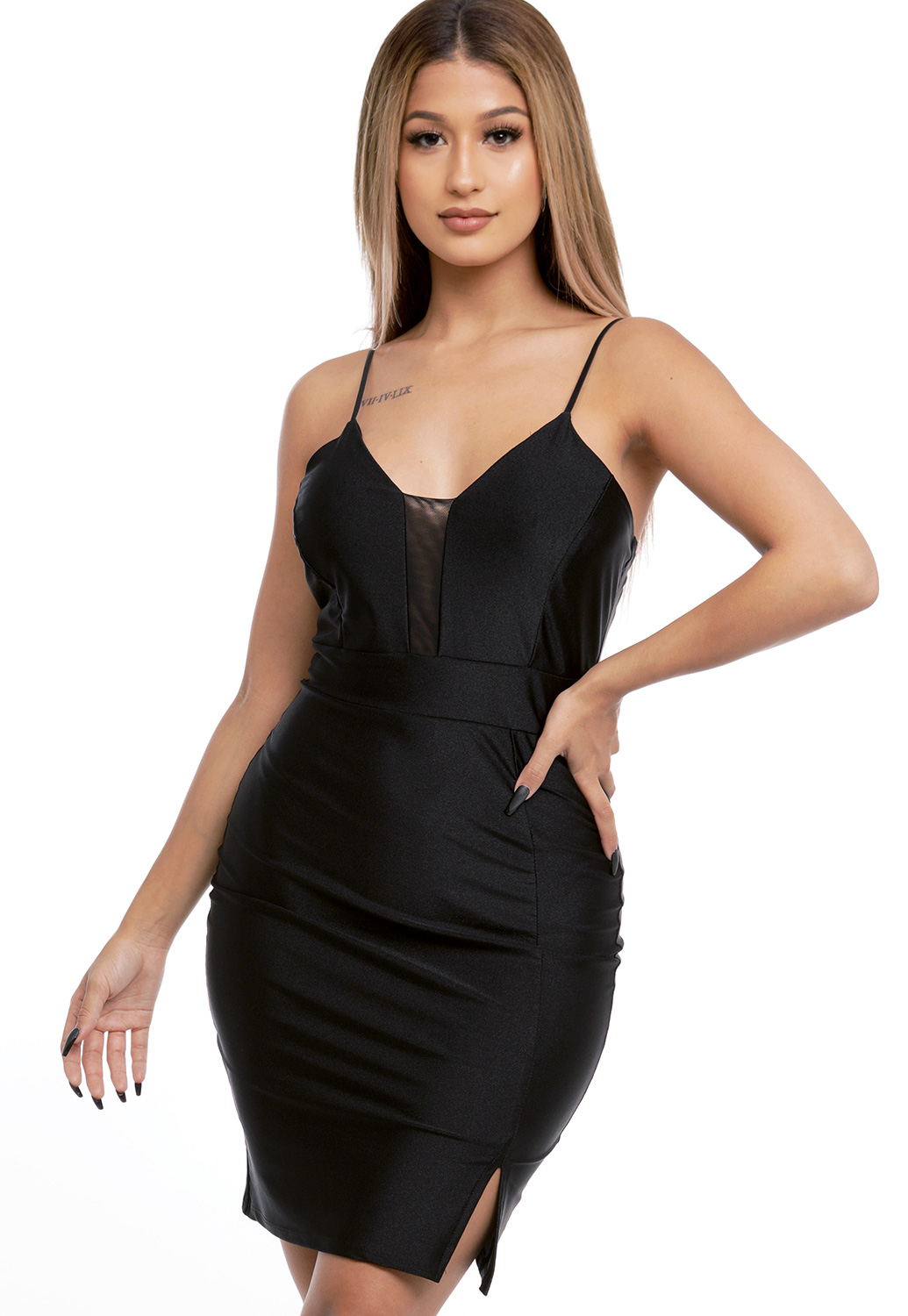 Sheer Mesh Trim Bodycon Dress
