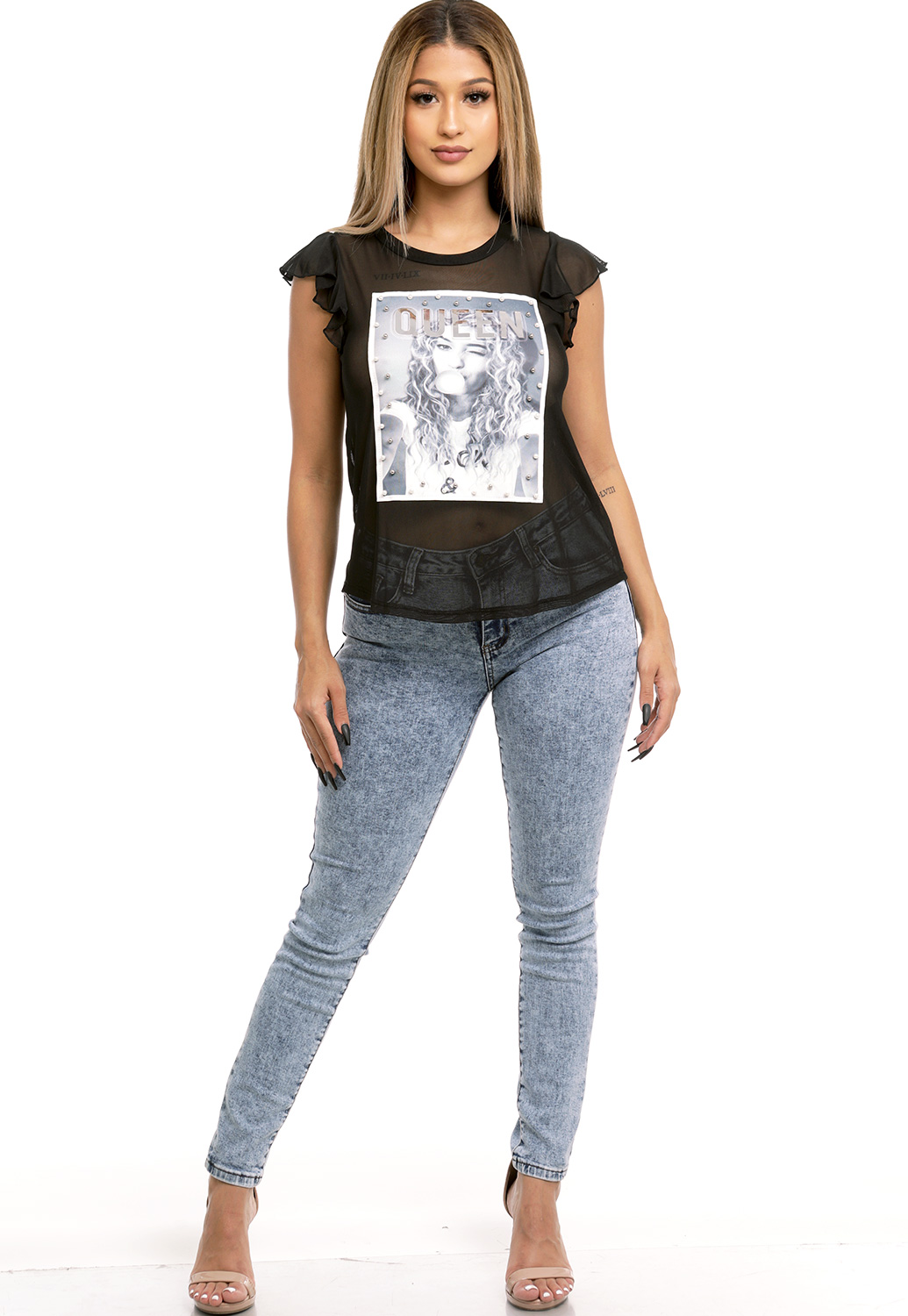 Queen Graphic Sheer Mesh Top