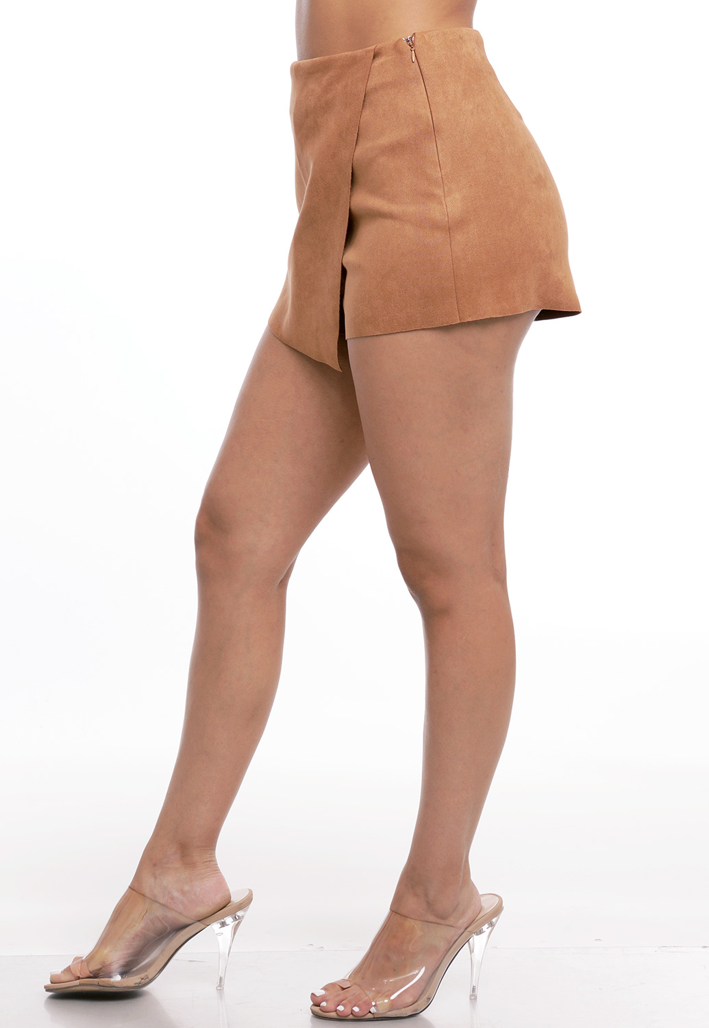 Faux Suede Asymmetrical Short