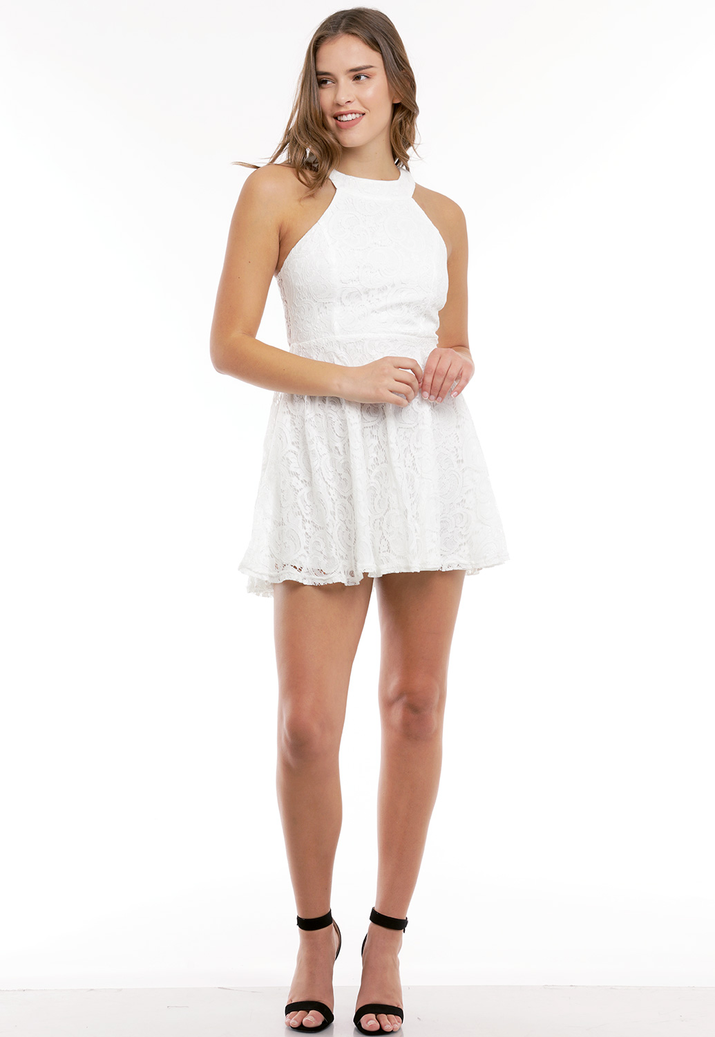 Floral Lace Panel Mini Dress