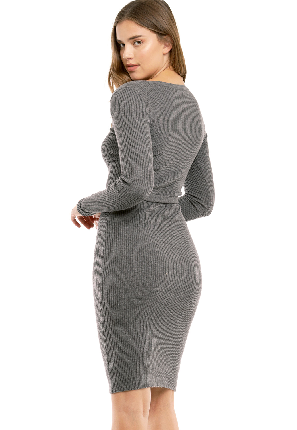 Belted Ribbed Bodycon Dress