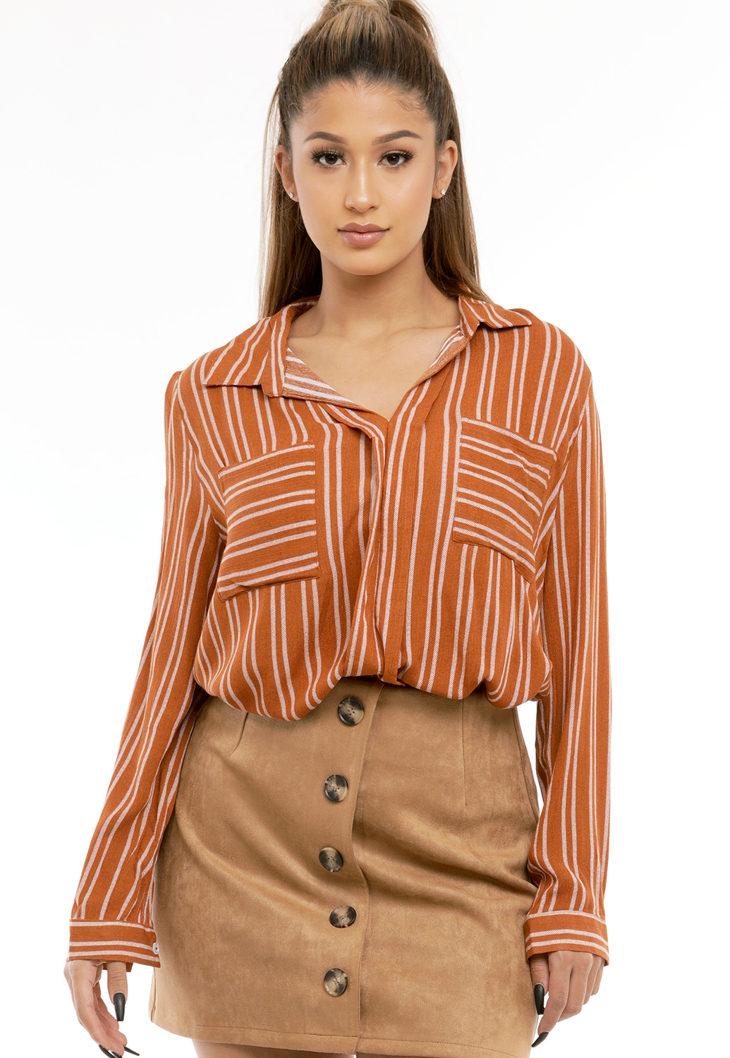Pinstriped V-Neck Blouse