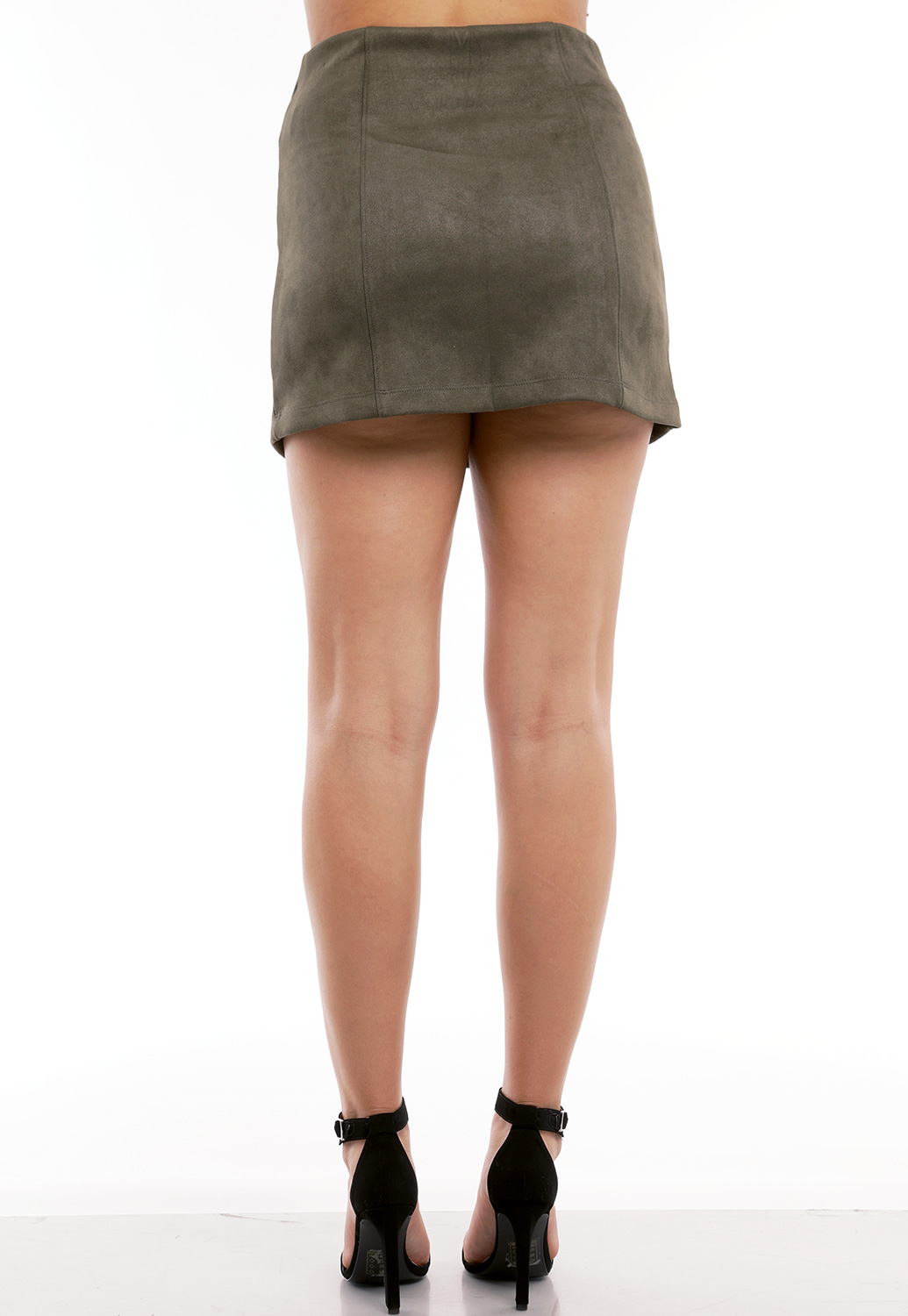 Zip Up Suede Mini Skirt