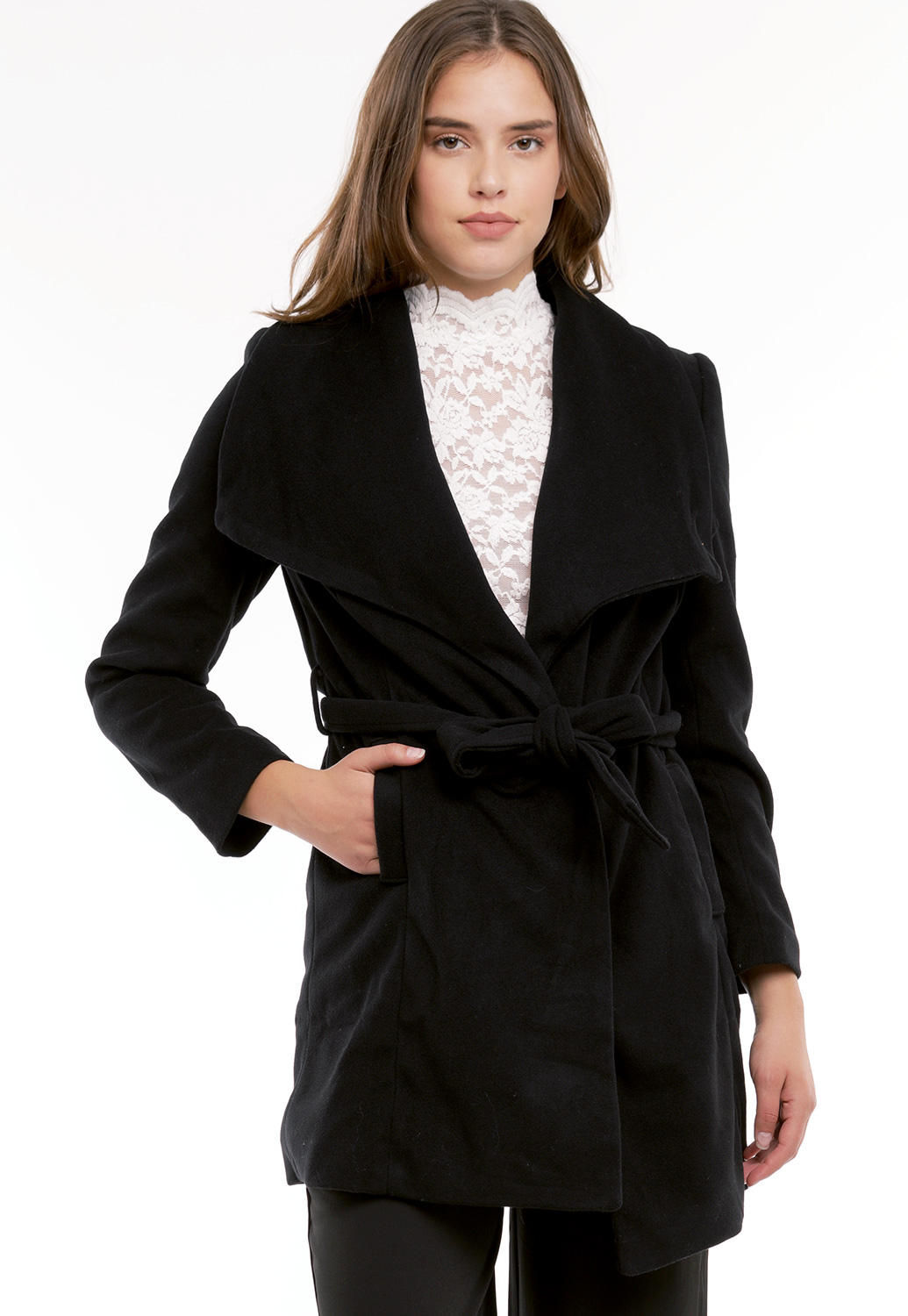 Tie Front Double Breasted Coat