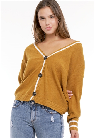 V-Neck Button Detail Sweater