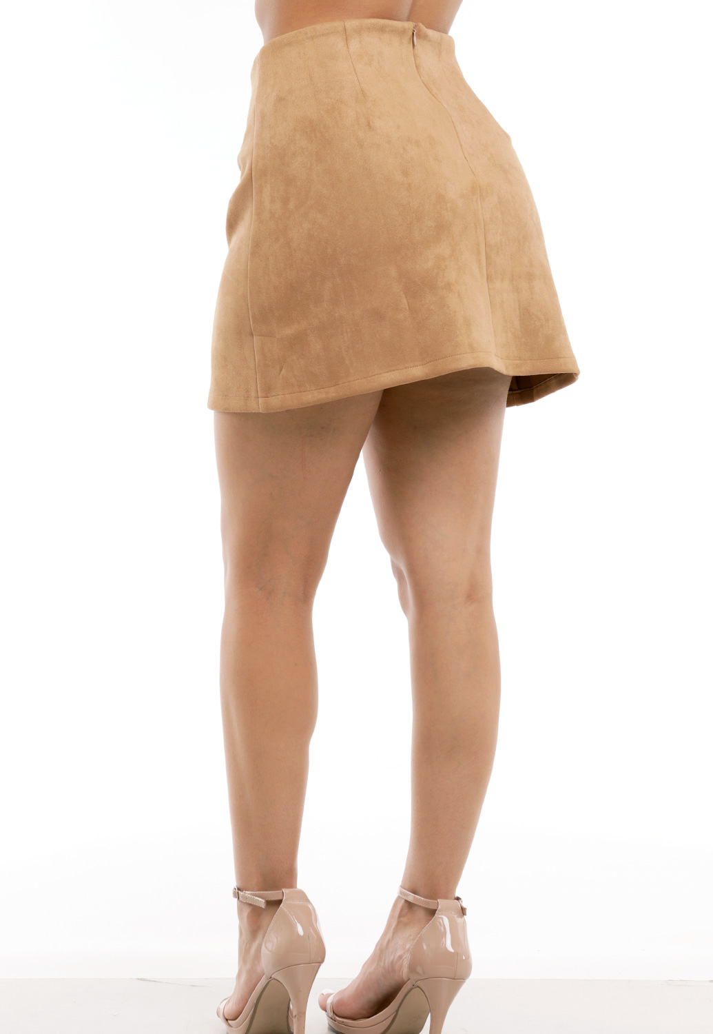 Suede Button Mini Skirt