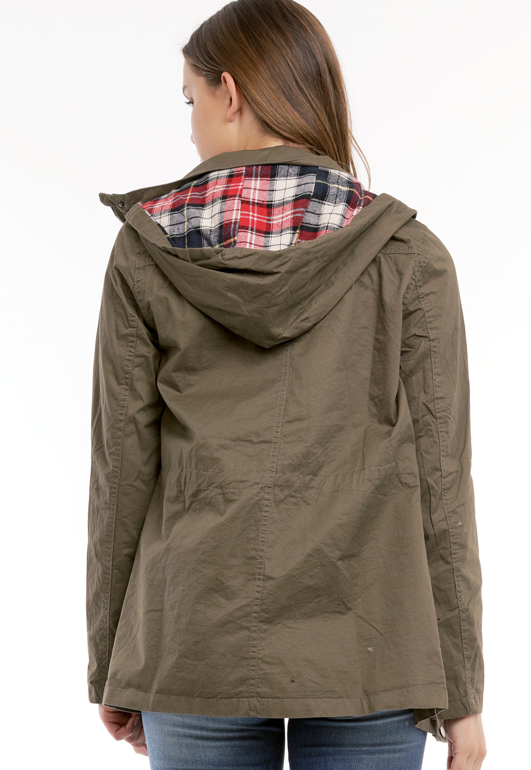 Zippered Button Up Detail Jacket