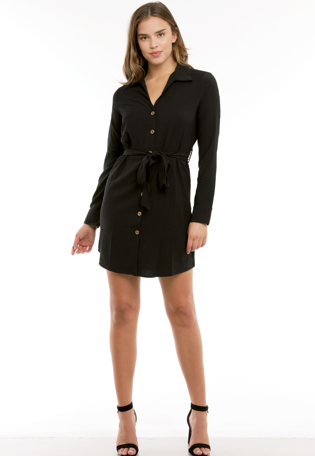Tie Front Button Up Tunic Dress