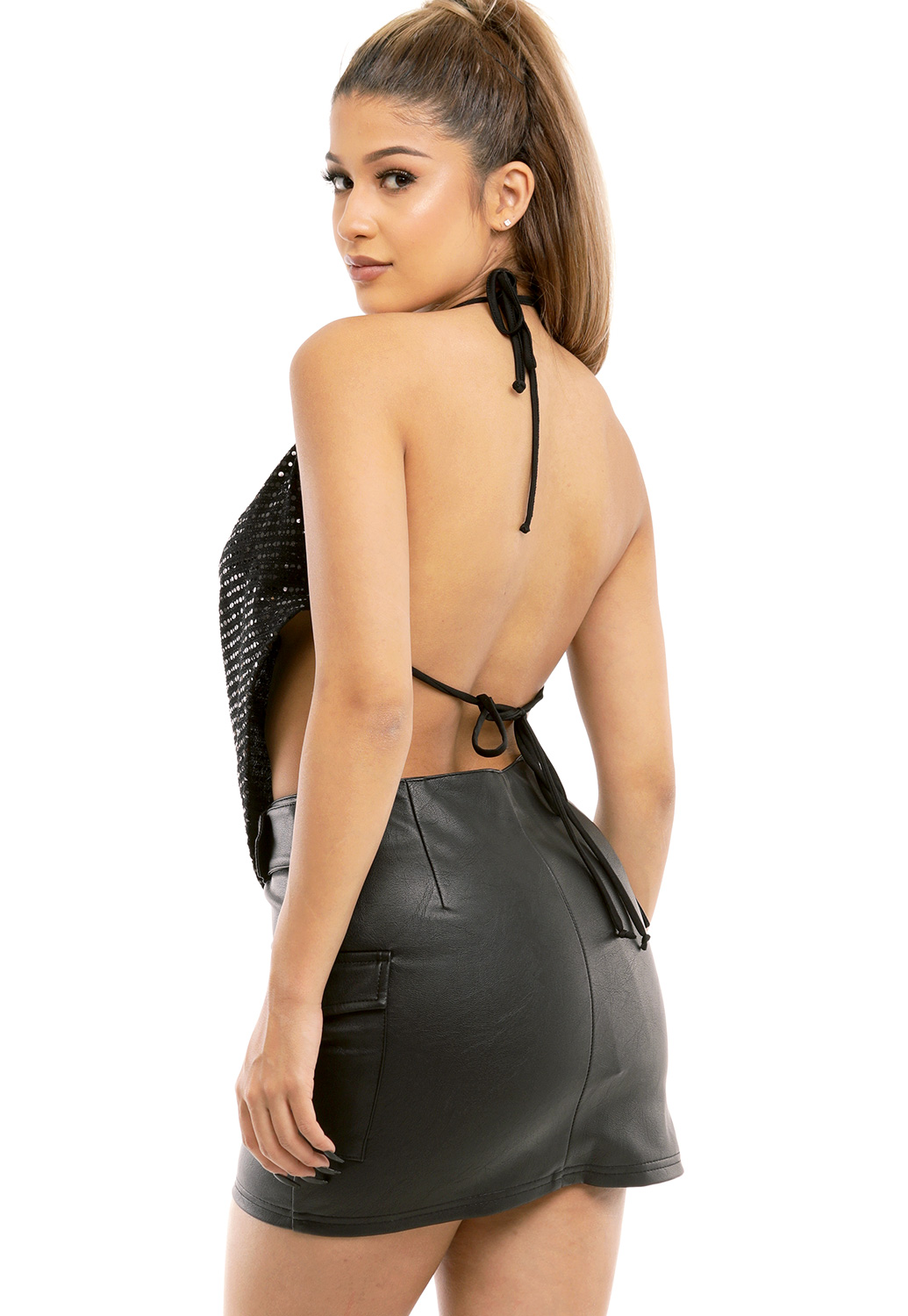 Metallic Halter Top
