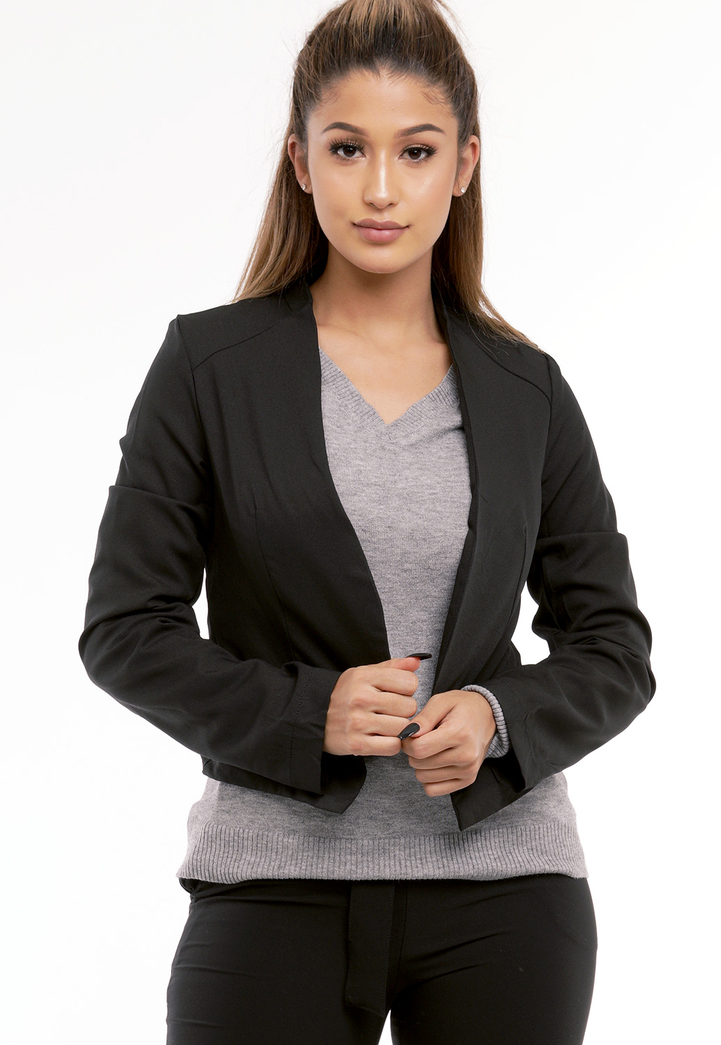 Crisscross Zipper-Back Blazer